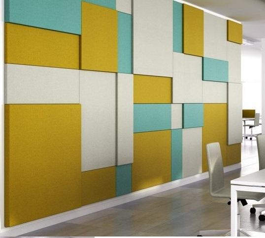 Kumaş kaplı akustik duvar paneli 3d