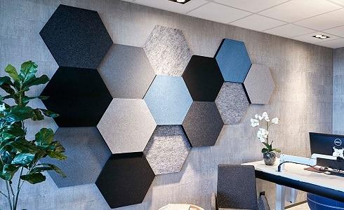 Altıgen akustik kumaş kaplı duvar panel kaplama