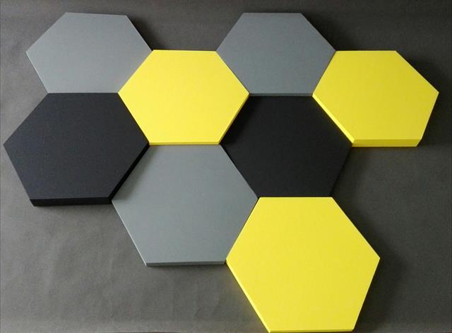 Altıgen kumaş kaplı akustik duvar paneli